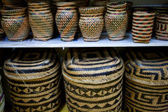 Tradicional straw baskets on Amazon shop Royalty Free Stock Photography