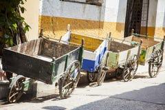 Tradicional wagon in Cartagena de Indias. Group of tradicional wagons in Cartagena de Indias Stock Images
