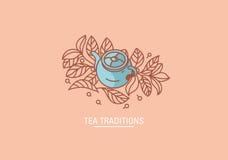 Tradiciones creativas del té del icono Tetera y hojas del grenn o del negro del té ilustración del vector