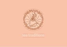 Tradiciones del té Hojas de té y compañero del té stock de ilustración