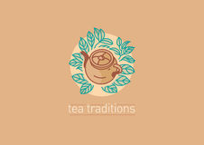 Tradiciones del té Tetera y hojas del grenn o del negro del té stock de ilustración