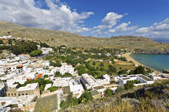 Tradiiotnal village of Lindos at Rhodes Royalty Free Stock Photo