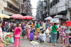 Trading activities at the downtown Yangon market Royalty Free Stock Photo