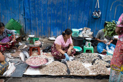 Trading activities at the downtown Yangon market Royalty Free Stock Image