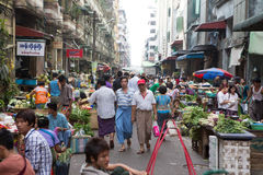 Trading activities at the downtown Yangon market Stock Images