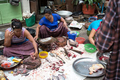 Trading activities at the downtown Yangon market Stock Photos