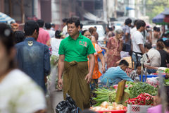 Trading activities at the downtown Yangon market Royalty Free Stock Photography