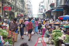 Trading activities at the downtown Yangon market Stock Image