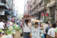 Trading activities at the downtown Yangon market Royalty Free Stock Images