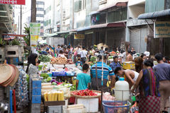 Trading activities at the downtown Yangon market Royalty Free Stock Photos