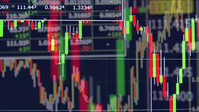 Trading charts with stock market information. 4K stock illustration