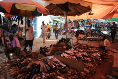 Trading on a city street in Somalia Royalty Free Stock Photography