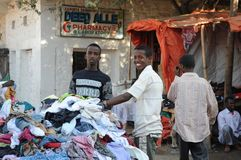 Trading on a city street in Somalia Royalty Free Stock Images