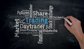 Trading Cloud is written by hand on blackboard Stock Images