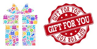 Gift Collage of Mosaic and Textured Seal for Sales stock illustration