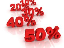 Trading commercial concept of sale percents row Stock Image