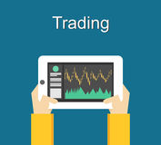 Trading concept illustration flat design. Monitoring trade on gadget. Vector Stock Images