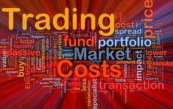 Trading costs background concept glowing Royalty Free Stock Photo