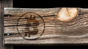 Bitcoin sign on an old wooden board stock image