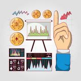 Trading of cryptocurrency design. Related icons of trading of cryptocurrency over gray background, colorful design vector illustration Royalty Free Stock Photography