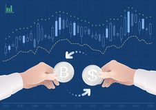 Trading Of Currency Pair Between The Dollar And The Bitcoin On The Stock Exchange. Graphic illustration on the theme of `Currencies / Foreign Exchange Stock Image