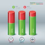 Trading cylindrical bars infographic Royalty Free Stock Photo