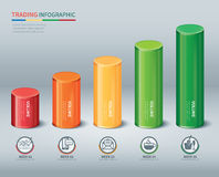 Trading cylindrical bars infographic Royalty Free Stock Image