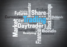 Trading daytrader stock exchange word cloud concept.  Royalty Free Stock Image