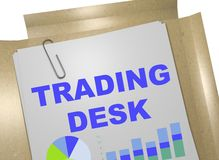 Trading Desk concept. 3D illustration of TRADING DESK title on business document Royalty Free Stock Photography