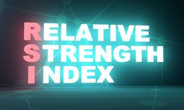 Stock exchange acronym. Trading dictionary. Financial market concept. Acronym RSI - Relative Strength Index. 3D rendering Royalty Free Stock Image