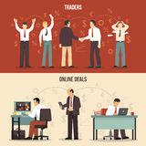 Trading Finance Banners. Horizontal trading finance banners with traders making agreements and online deals flat isolated vector illustration Stock Photography