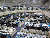 Trading Floor of Deutsche Bank in Frankfurt, Germany stock image