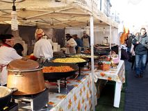 Trading food in annual traditional crafts fair Stock Image