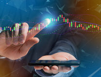 Trading forex data information displayed on a stock exchange int Royalty Free Stock Image