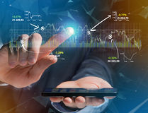 Trading forex data information displayed on a stock exchange int Royalty Free Stock Photo