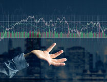 Trading forex data information displayed on a stock exchange int Royalty Free Stock Photography
