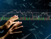 Trading forex data information displayed on a stock exchange int Stock Photography
