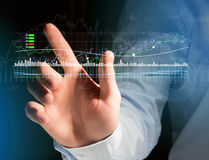 Trading forex data information displayed on a stock exchange int Stock Image