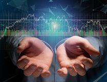 Trading forex data information displayed on a stock exchange int Stock Photos