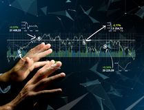 Trading forex data information displayed on a stock exchange int. View of a Trading forex data information displayed on a stock exchange interface - Finance Royalty Free Stock Image