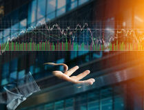 Trading forex data information displayed on a stock exchange int Stock Photo