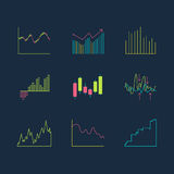 Trading graphics  icon set. Isolated line forex infographic Stock Photo