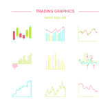 Trading graphics  icon set. Royalty Free Stock Photos