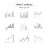 Trading graphics vector icon set. Stock Photography