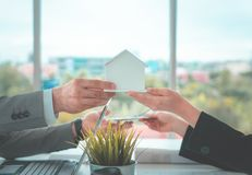 Trading home for cash home loan and buying concept royalty free stock images