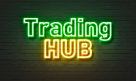 Trading hub neon sign on brick wall background. Trading hub neon sign on brick wall background Royalty Free Stock Photography