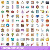 100 trading icons set, cartoon style. 100 trading icons set. Cartoon illustration of 100 trading vector icons isolated on white background royalty free illustration