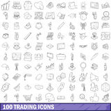 100 trading icons set, outline style. 100 trading icons set in outline style for any design vector illustration Royalty Free Stock Images