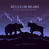 Trading illustration. The bulls and bears. Royalty Free Stock Images