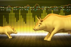 Trading and investing financial symbol with bull. In color background Royalty Free Stock Photo